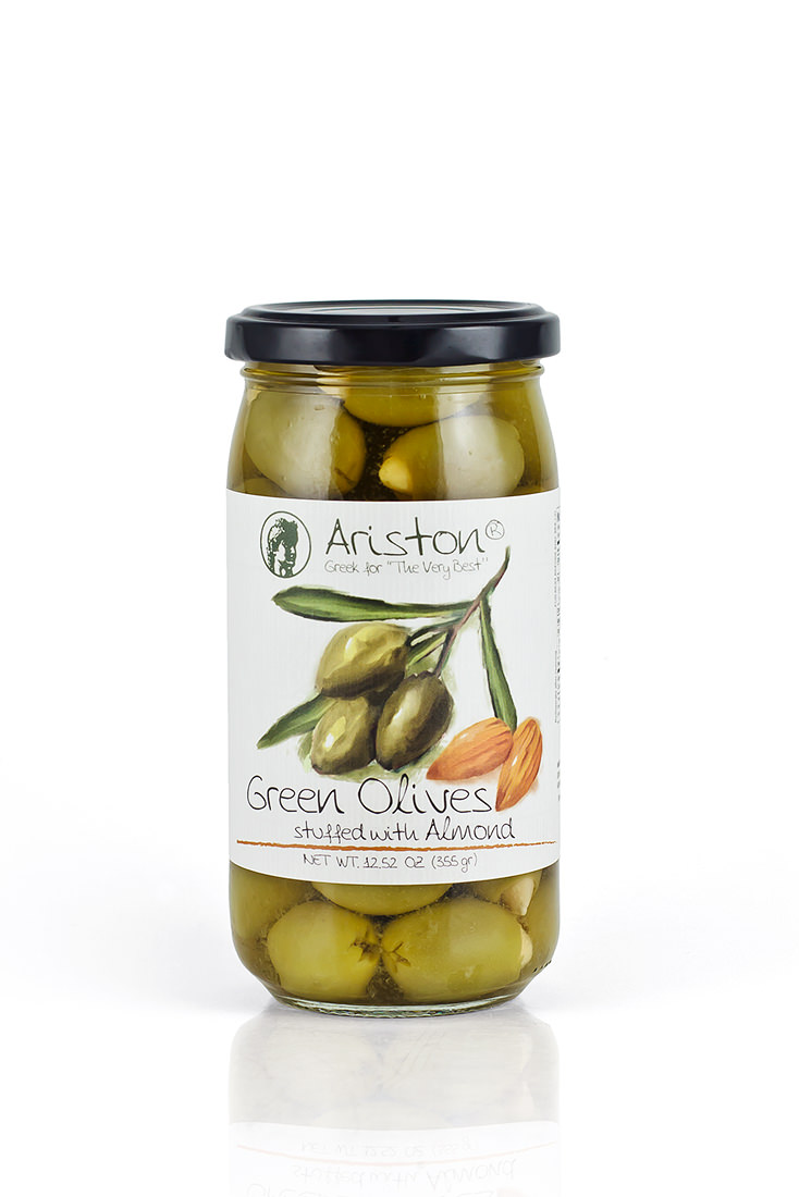 Ariston Green Olives Stuffed with Almonds 12.52 oz (355 gr ... Almond Olie