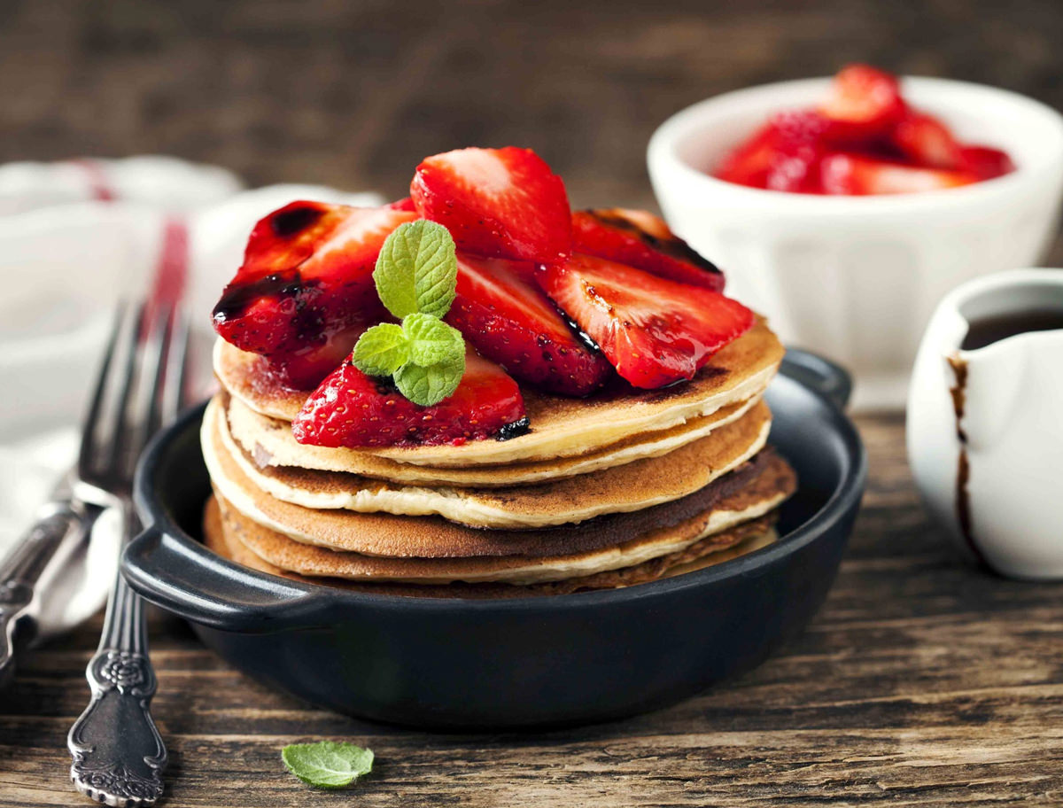 Pancakes with Fresh Berries and  Ariston Traditional Balsamic Vinegar